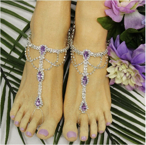 lavender lilac wedding foot jewelry women