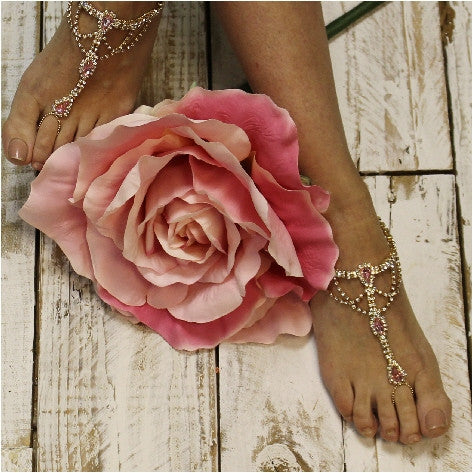 PINK  wedding  barefoot sandals - pink footless sandals - pink foot jewelry