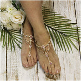 SOMETHING PINK  wedding  barefoot sandals - gold - Catherine Cole Studio  - 6