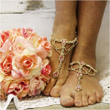 PINK  wedding  barefoot sandals - gold - pink foot jewelry - pink footless sandals