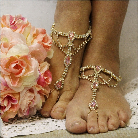 pink barefoot sandals crystals diamonds wedding trendy etsy fashion