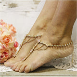 PINK  wedding  barefoot sandals - gold - pink footless sandals