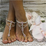pink wedding  barefoot sandals - pink - silver - foot jewelry - rhinestones