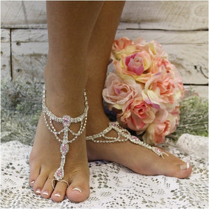 Adult size Pink and White Butterfly Barefoot Sandals DS-SS-055 Perfect for beach weddings