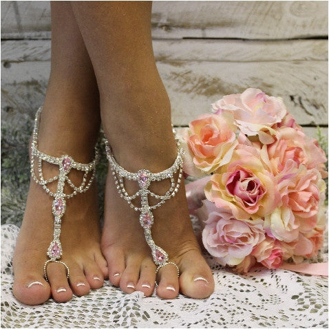 687756bbe pink barefoot sandals - pink foot jewelry - pink foot jewelry  pink wedding  ...