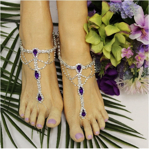 SOMETHING PURPLE  barefoot sandals - amethyst - wedding foot jewelry etsy
