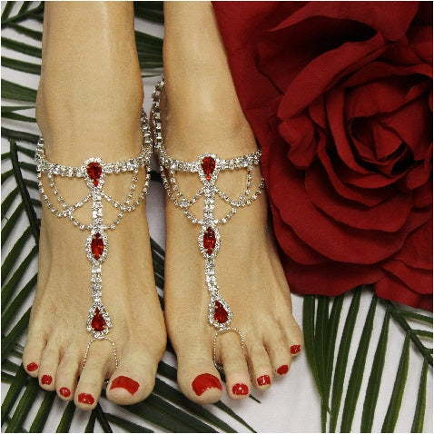 red feet jewelry beach wedding rhinestones bridal