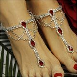 red barefoot sandals -  red wedding sandals  - red foot jewelry beach -  red rhinestone - crystal