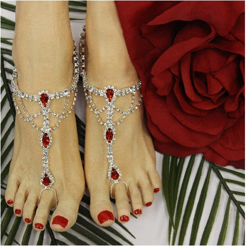 red footless sandals beach wedding
