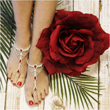 red barefoot sandals - red foot jewelry - red footless sandals