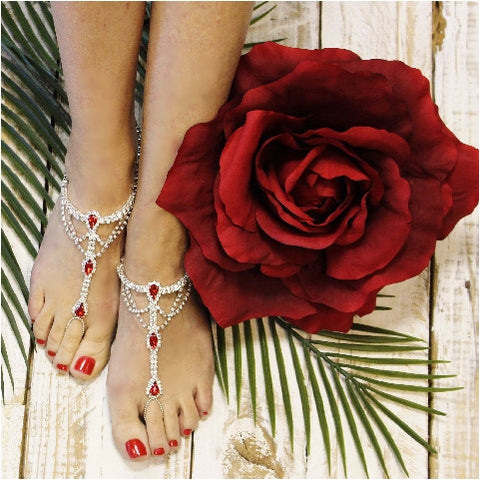 barefoot sandals - red -  beach - wedding - lace - jewelry - wedding - fashion - feet - rhinestones