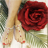 red barefoot sandals -  RED  foot jewelry  red footless sandals