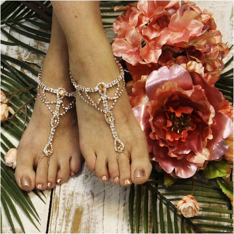 rose gold barefoot sandals - rose gold foot jewelry -rose gold -  barefoot sandals -crystals - diamante - woman - wedding