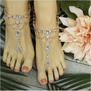 rose gold wedding foot jewelry rhinestones etsy best