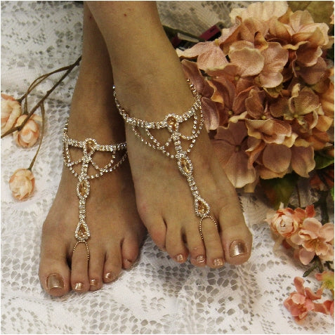 SOMETHING SPECIAL barefoot sandals rose gold wedding foot