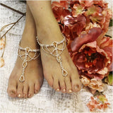 rose gold barefoot sandals -rose gold -  wedding - beach - foot jewelry - pearls - rhinestones - beaded