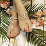 barefoot sandals - rose gold - wedding - rose gold - crystals - beach