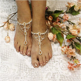 rose gold  barefoot sandals - rose gold - wedding - rhinestones