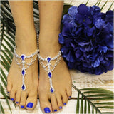 SAPPHIRE  barefoot sandals - royal blue foot jewelry - blue feet sandals - wedding - royal blue