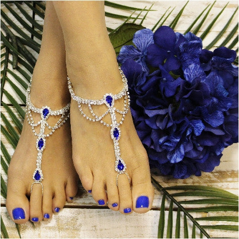 SAPPHIRE  barefoot sandals - royal blue foot jewelry -blue footless sandals wedding- foot jewelry
