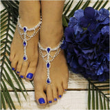 blue barefoot sandals - royal  blue barefoot sandals- sapphire foot jewelry - blue foot jewelry