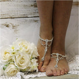 silver foot jewelry - silver barefoot sandals - silver  footless sandals - crystals - diamante - woman - wedding