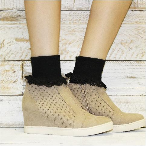 cute black socks lace wedge sneaker outfit