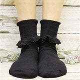 lace cuff socks women black
