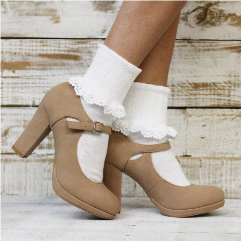 lace cuff socks white cute