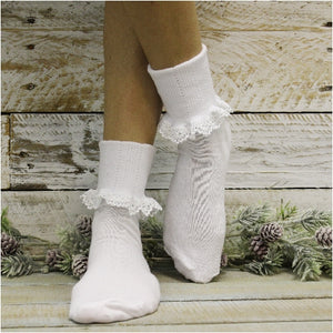 BOBBY  lace socks  - white - Catherine Cole Studio
