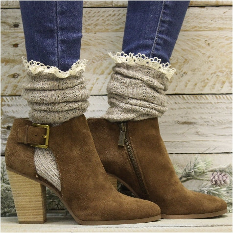 BOOTIE  lace slouch socks - oatmeal - Catherine Cole Studio