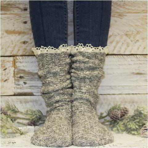 BOOTIE  lace slouch  socks - salt n pepper - Catherine Cole Studio
