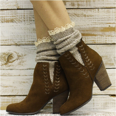 BOOTIE  lace boot socks - oatmeal