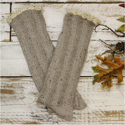 oatmeal lace boot socks - oatmeal bootie lace socks - oatmeal boot socks