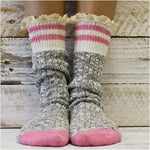SOCK MONKEY pink heel quality USA socks lace