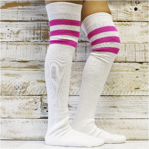 stripes over the knee socks women thigh high pink USA