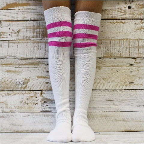 sexy thigh high striped socks women athletic tube USA made