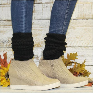black slouch socks with wedge sneakers outfit skinny jeans
