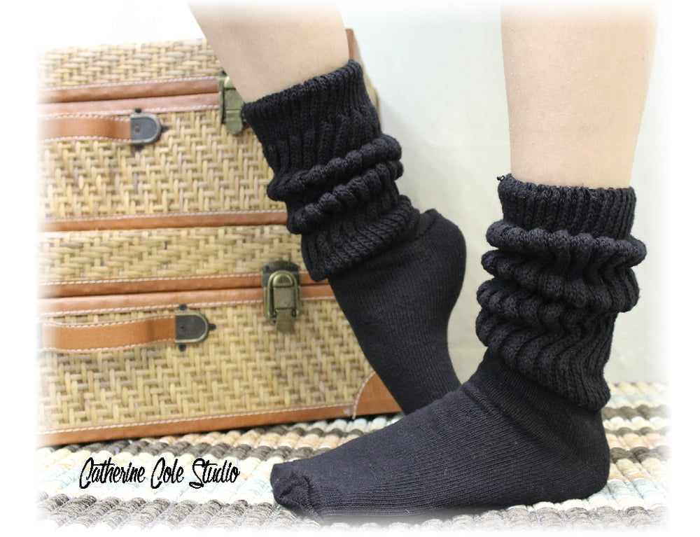 CUDDLY cotton slouch socks women  - black - Catherine Cole Studio