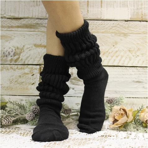 CUDDLY cotton slouch socks women  - black -HOOTERS socks cotton best