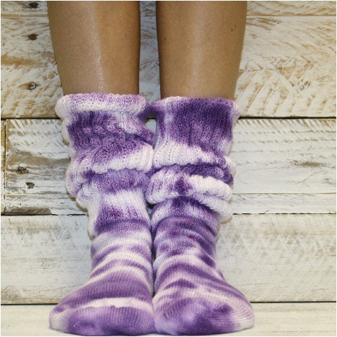 CUDDLY cotton slouch socks women - Tie dye purple lavender pink flecks