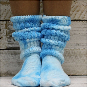 slouch socks Hooters tie dyed blue turquoise