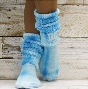 blue turquoise Hooters scrunch socks