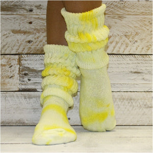tie dye slouch socks yellow cotton