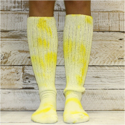 CUDDLY cotton slouch socks women - Tie dye lemon yellow