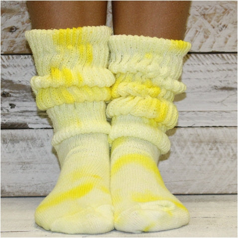 yellow tie dyed slouch cotton socks women