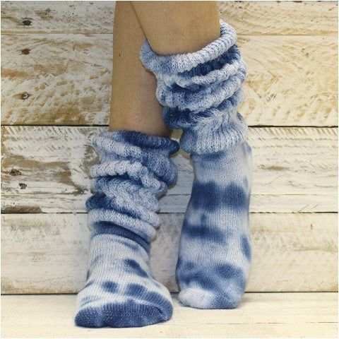 hooters socks women tie dye blue