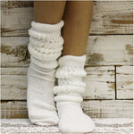 cotton slouch socks women - white - hooters socks fun