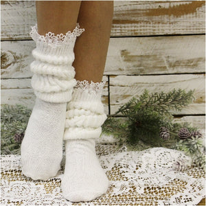SCRUNCHY  lace slouch socks - white - 90s fashion socks womens