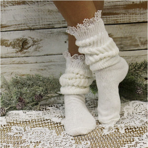 SCRUNCHY  lace slouch socks - white - crew cotton socks women Hooters